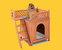 齐久宠物室内实木狗屋