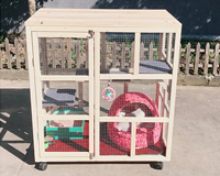 齐久室内阳台木制三层猫笼 带轮子